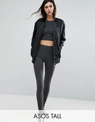 Asos Tall High Waisted Leggings In Charcoal Marl Grey