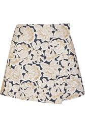 Suno Embroidered Cotton Canvas Mini Skirt White