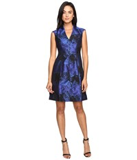 Maggy London Shadow Abstract Deep V Neck Fit And Flare Blue Black Women's Dress