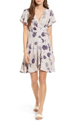 Astr The Label Women's Floral Print Wrap Dress Grey Floral