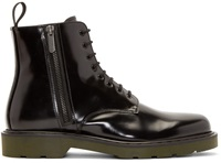 Alexander Mcqueen Black Leather Contrast Sole Boots