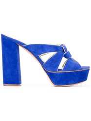 Casadei Platform Mules Women Chamois Leather Leather Kid Leather 37.5 Blue
