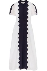 Valentino Paneled Broderie Anglaise Cotton Blend And Silk Crepe Midi Dress White