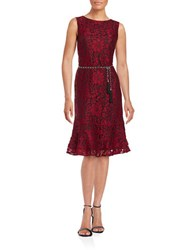 Karl Lagerfeld Belted Lace Sheath Dress Merlot