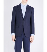 Canali Checked Wool Jacket Navy
