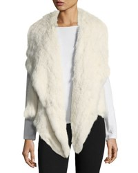 Neiman Marcus Rabbit Fur Envelope Vest White