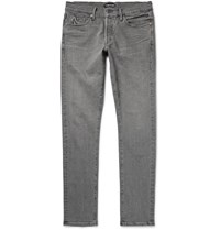 Tom Ford Skinny Fit Washed Selvedge Stretch Denim Jeans Gray