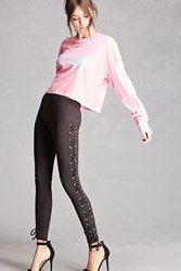 Forever 21 Lace Up Grommet Leggings Black