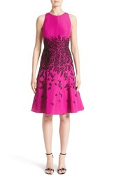 Carmen Marc Valvo Women's Beaded Fit And Flare Dress