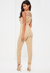 Missguided Nude High Neck Cross Lace Jumpsuit