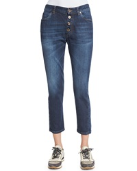 Brunello Cucinelli Mid Rise Exposed Fly Cropped Jeans Medium Wash