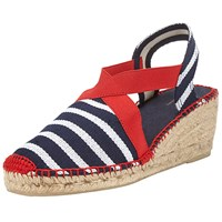 John Lewis Ter Wedge Heeled Espadrilles Navy Red Stripe