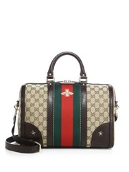 Gucci Vintage Bee Embroidered Web Satchel Beige Multi