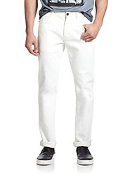 Madison Supply Slim Straight Five Pocket Jeans White