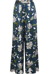 Adam By Adam Lippes Floral Print Silk Charmeuse Wide Leg Pants Navy