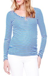 Women's Ingrid And Isabel Stripe Scoop Neck Maternity Tee Cobalt White Stripe