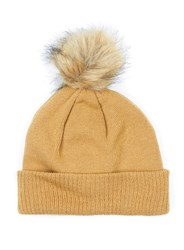 Topman Brown Camel Faux Fur Bobble Beanie Hat