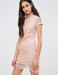 Girl In Mind Short Sleeve Lace Pencil Dress Pink