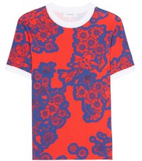 Carven Floral Printed Cotton Top Red