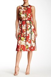 Abs By Allen Schwartz Digital Print Floral Carwash Skirt Red