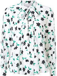 Carolina Herrera Floral Print Pussy Bow Blouse White
