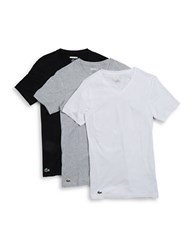 Lacoste Slim Fit Cotton V Neck Tee Set Of 3 Black Grey White