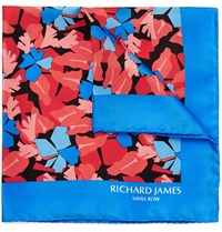 Richard James Lively Leaves Printed Silk Pocket Square Blue