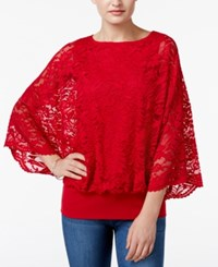 Jm Collection Lace Dolman Sleeve Top Only At Macy's New Red Amore
