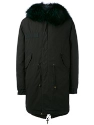 Mr And Mrs Italy Long Embroidered Parka With Removable Fox Fur Men Cotton Lamb Skin Acrylic Fox Fur Xl Black