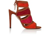 Aquazzura Women's Vika Suede Sandals Red Orange Brown Fuschia