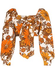 Dodo Bar Or Biby Floral Tie Front Top 60