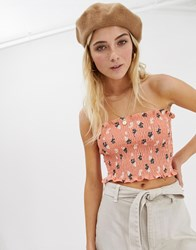 Glamorous Bandeau Crop Top In Shirred Floral Multi