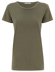 Alexa Chung For Ag Faded Olive The Boyfriend T Shirt Green
