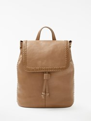 And Or Isabella Leather Whipstitch Backpack Taupe
