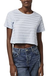 Topshop Women's Mini Scallop Crop Tee Light Blue