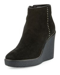 Aquatalia By Marvin K Vena Shearling Fur Lined Wedge Bootie Black