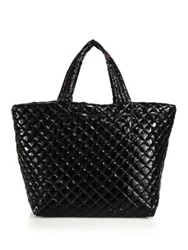 M Z Wallace Metro Large Lacquered Quilted Nylon Tote Black