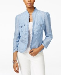 Inc International Concepts Ruffle Trim Linen Jacket Only At Macy's Chambray