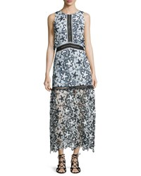 Self Portrait Sleeveless Floral Lace Popover Maxi Dress Black White Light Blue