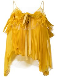 Rochas Pleated Bow Cami Women Silk Polyamide 40 Yellow Orange