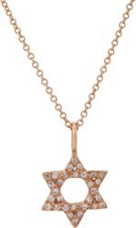 Ileana Makri Diamond And Rose Gold Star Of David Pendant Necklace Colorl Colorless