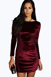 Boohoo Velvet Open Back Detail Bodycon Dress Berry