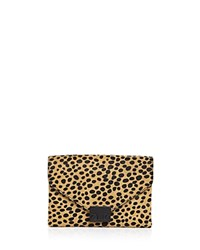 Loeffler Randall Cheetah Print Calf Hair Junior Lock Clutch