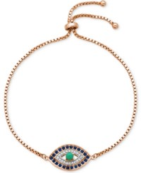 Giani Bernini Cubic Zirconia Evil Eye Adjustable Slider Bracelet In 18K Rose Gold Plated Sterling Silver Only At Macy's