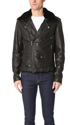Blk Dnm Shearling Collar Leather Jacket 5 Black