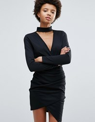 Daisy Street High Neck Bodycon Dress With Crossover Front Black