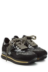 Hogan Platform Sneakers With Suede And Glitter Black