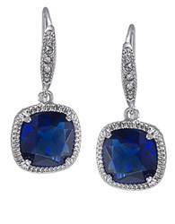 Carolee Uptown Recolor Blue Cushion Drop Earrings Blue Silver