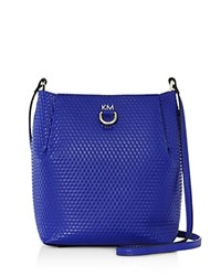 Karen Millen Small Embossed Duffel Shoulder Bag Blue