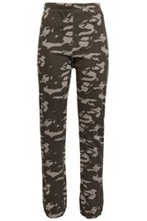 Monrow Printed Jersey Track Pants Army Green
